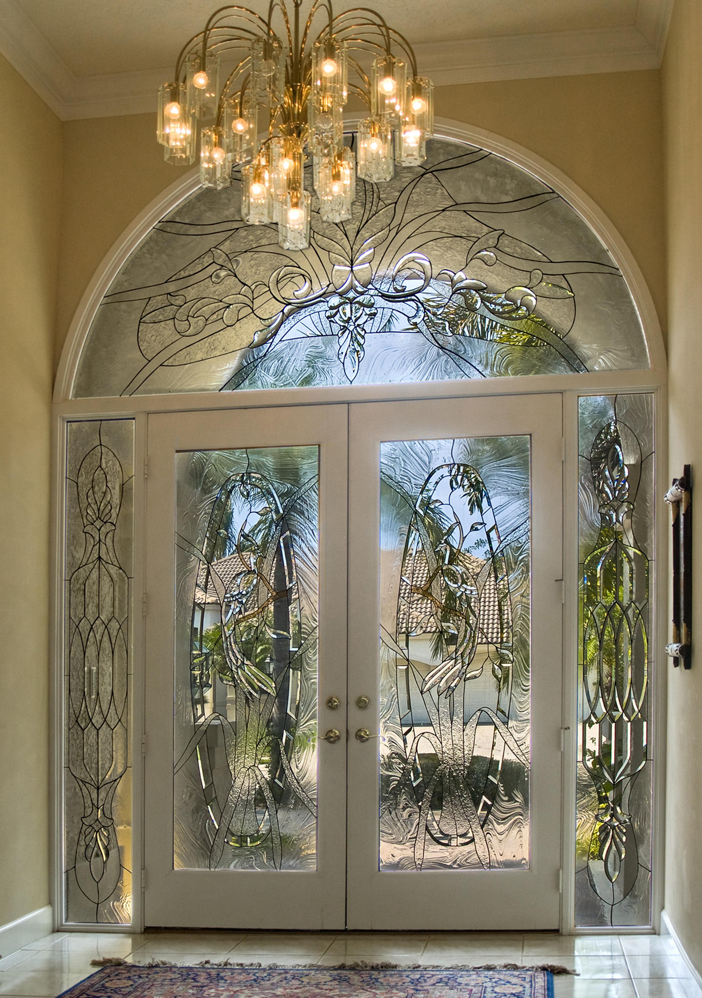 Beveled glass estate entrance by Preston Studios