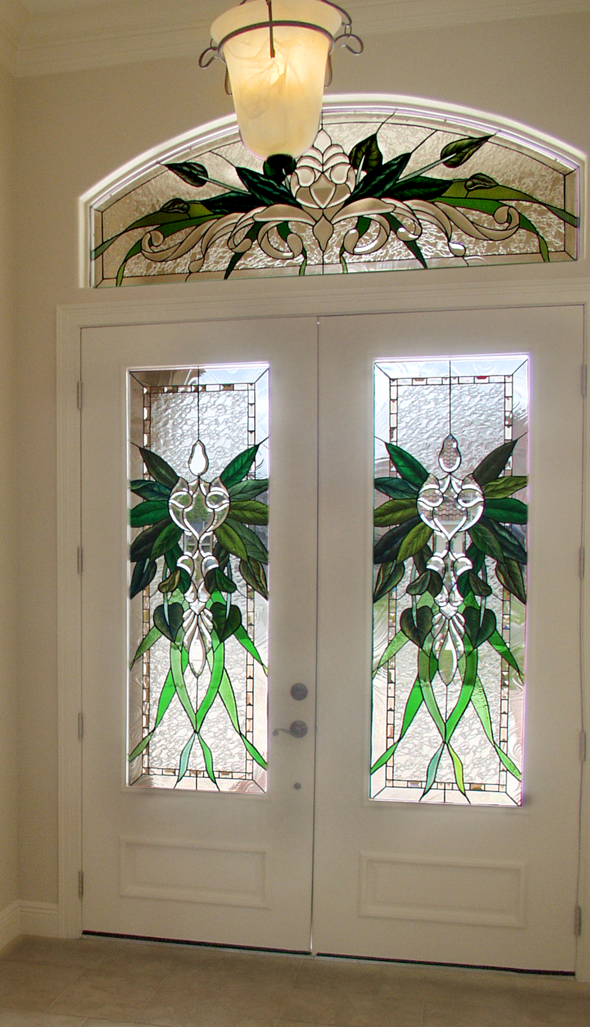 Custom organic green wreath design for entrance doors