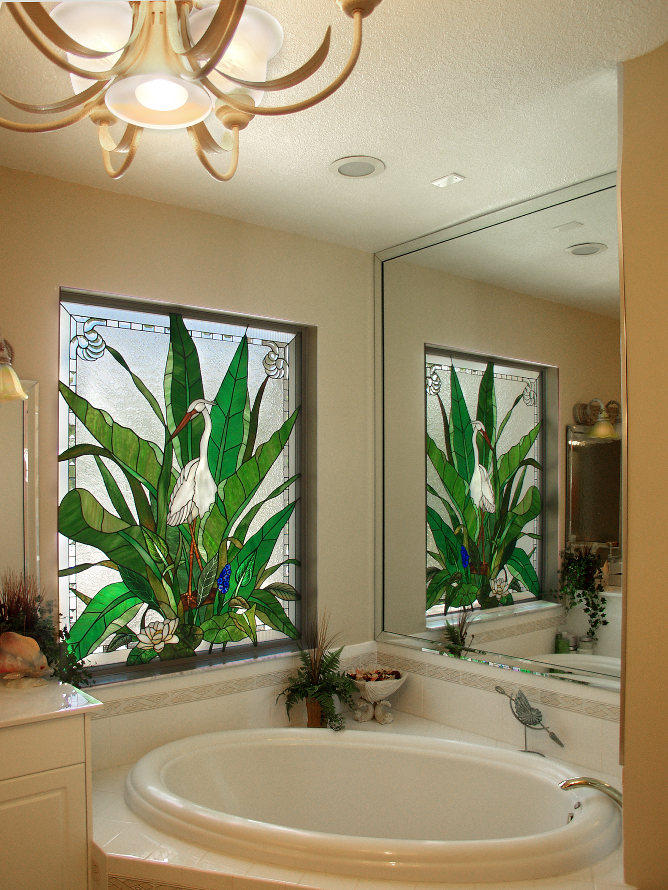 A unique bath window design by PRESTON STUDIOS
